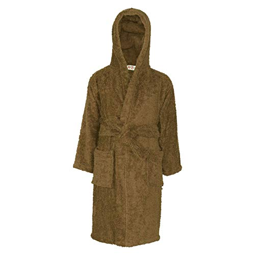 - Kids Girls Boys 100% Cotton Soft Terry Hooded Bathrobe Luxury Dressing Gown 5-13 Brown