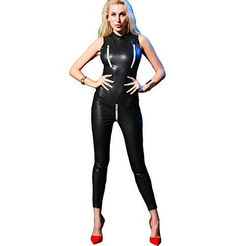 Women PVC Leather Lingerie Sexy Open Crotch Latex Catsuit Bodysuit Lenceria (2XL, Black)