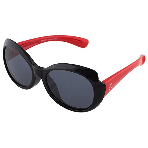 Flexible Kids Sunglasses - Black and Red Silicon Shades by Optix - On Suits Round Sunglasses Which Face