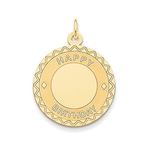 14k Yellow Gold Happy Birthday Charm (25 x 34 mm)