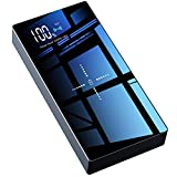 TOVAOON Wireless Portable Charger, 20000mAh wireless charger Power Bank Battery Pack with LED Display and Full Glass Panel Compatible with Qi Wireless Charging Device or Dual USB Output(Black)