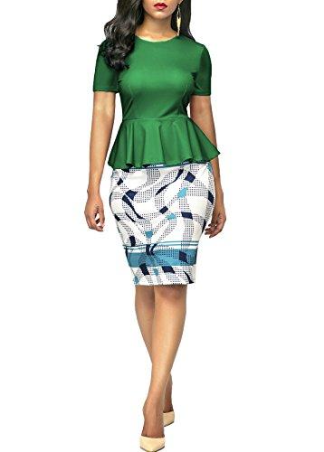 BETTE BOUTIK Robe Moulante pour Femmes Col Rond Manches Courtes Peplum Travail de Bureau Dcontract Vert