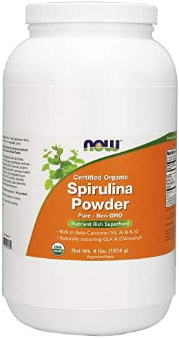 Now Supplements, Organic Spirulina Powder with Beta-Carotene (Vitamin A) and B-12, 4-Pound