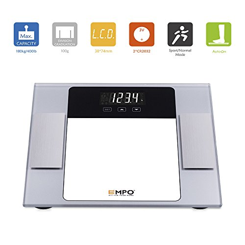 EMPO® Body Fat Bathroom Scale with Tempered Glass - LIFETIME WARRANTY - High Accuracy MemoryTrack Digital Scale - Extra-large LightOnDark digital display - Measure weight, body fat, hydration, muscle, bone mass, and daily demand of calories - Auto recognition technology of up to 10 personal profiles for shared use at home - Gift Wrap Available - Silver