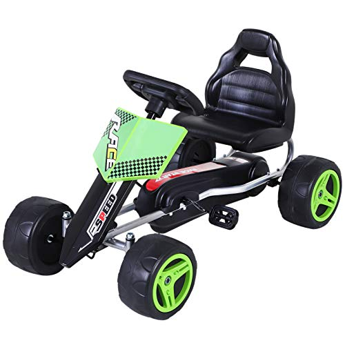 Aosom Kids Go Kart, 4 Wheeled Ride On Pedal Car, Racer for Boys and Girls for Outdoor - Green