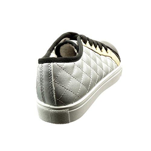 Fourrée 2 Argent Plat 5 Matelassé Mode Intérieur Baskets Talon Angkorly Chaussure Cm Fourrure Femme Tennis SZqZzO