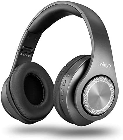 Bluetooth Headphones Over Ear,Folding Stereo Headset 40H Playtime with Deep Bass,Soft Memory-Protein Earmuffs,Built-in Mic Wired Mode PC Cell Phones TV Grey