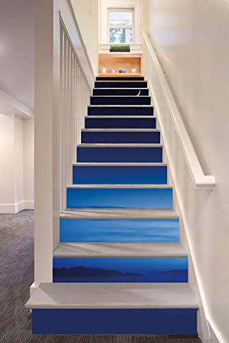Night 3D Stair Riser Stickers Removable Wall Murals Stickers,Moon and Stars over Santa Barbara Channel Infinity Foggy Pacific Ocean Decorative,for Home Decor 39.3