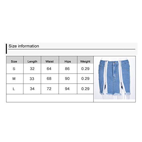 C Pantalones Loose Mezclilla Media Bolsillos Color Leggings Largo Mujer Pantalones Azul con Casual Jeans Fit Cremallera Cintura Puro Retro Denim Moda wAqx4fR
