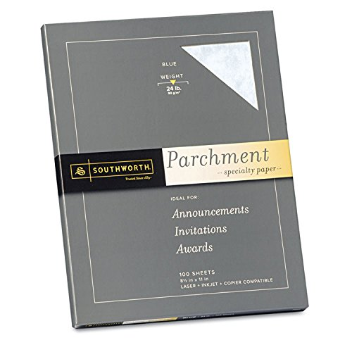 (SOUTHWORTH Company P964CK336 Parchment Specialty Paper, Blue, 24 lbs, 8-1/2 x 11, 100/Box)
