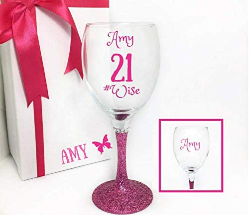 21st Wine Glasses For Her Personalised Birthday Gifts Option To Add
