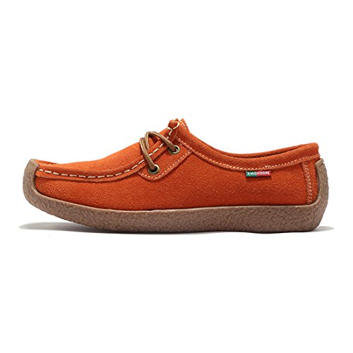 Z.SUO Damen Casual Mokassins Wildleder Bequem Flatschuhe Low-Top Schuhe Halbschuhe Freizeit Orange
