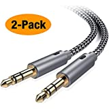 Oldboytech AUX Cable,[2-Pack,4ft,Hi-Fi Sound] 3.5mm Auxiliary Audio Cable Nylon Braided Male to Male AUX Cord Compatible Car/Home Stereos,Speaker,iPhone iPod iPad,Headphones,Sony Beats,Echo Dot (Grey)