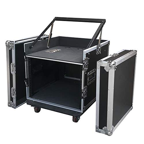 Goujxcy 12U (4U and 8U) Space Rack Case with Slant Mixer Top DJ Mixer Cabinet with 4pcs casters Perfect for Audio Video Equipment Storage