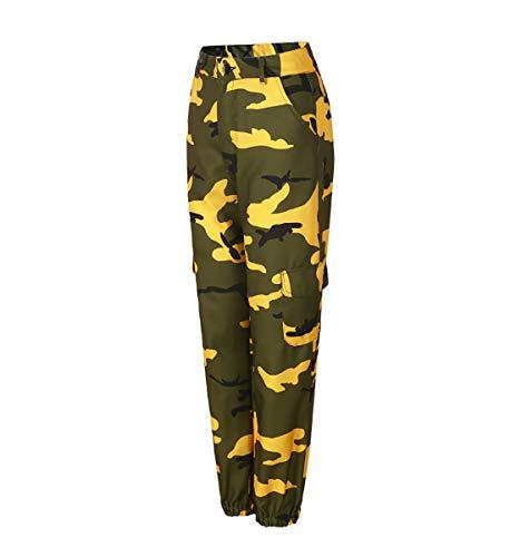 Donna Lunghi Hop Baggy Stampa Jeans Mimetica Xsayjia Yellow Hip Harem Pantaloni wSaqEqT