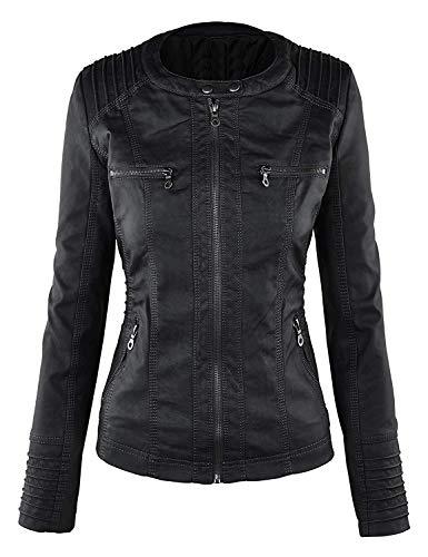 en Qingxian Manteau Femme Faux cuir Veste EqzwR