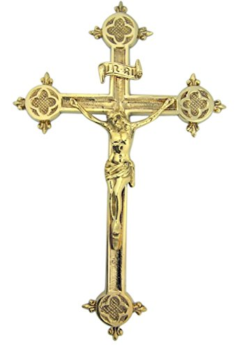 Religious Gifts Fleur De Lis Cross 12 Inch High Polished Brass Wall (Brass Wall Crucifix)
