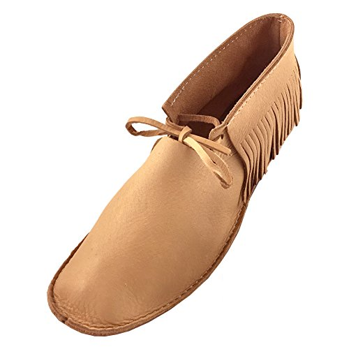 Womens Genuine Moose (Bastien Industries Women's Moose Hide Leather with Heavy Oil Tan Sole Wedding Earthing Moccasins (6))