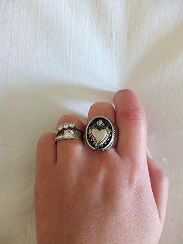 regalo anello cuore sacro ex voto cuore messicano milagros promessa religione cuore fiammeggiante argento nero acciaio misura 8 ovale sicilia siciliano tradizionale