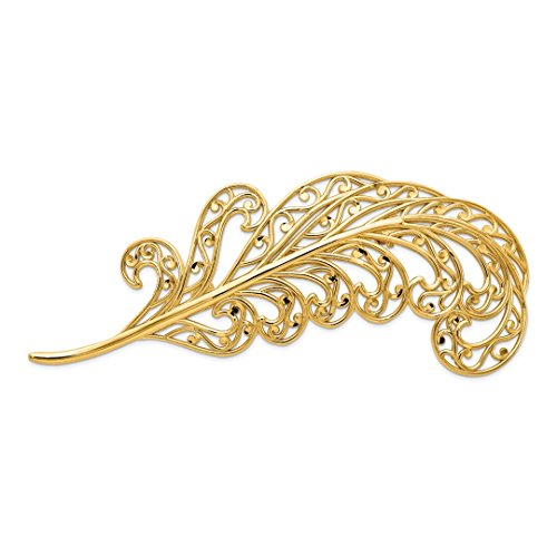 - 14k Yellow Gold Filigree Feather Pin Woman Fine Jewelry For Women Gift Set
