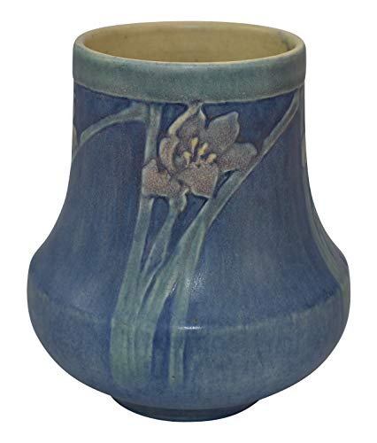 (Newcomb College Pottery 1921 Crocus Flower Blue Ceramic Vase (Irvine))