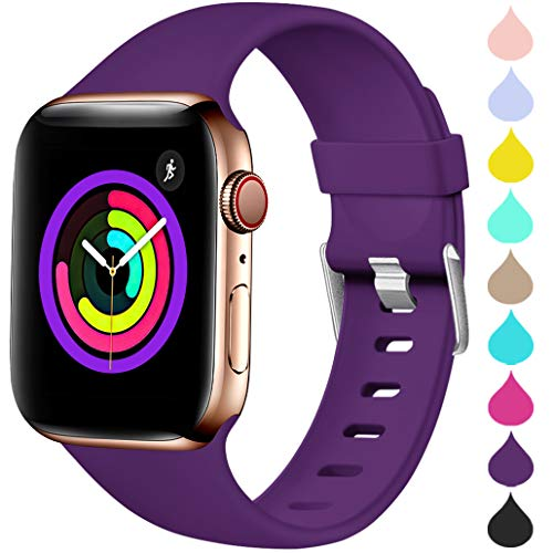 Haveda Sport Band Compatible for Apple Watch 38mm 40mm, Waterproof TPU Bands Wristband for iWatch, Apple Watch Series 4, Series 3, Series 2, Series 1 Women Men, Purple 38mm/40mm M/L