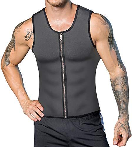 DoLoveY Men Waist Trainer Vest Weight Loss Hot Sweat Body Shaper Neoprene Corset Zipper Sauna Tank Top Workout ()
