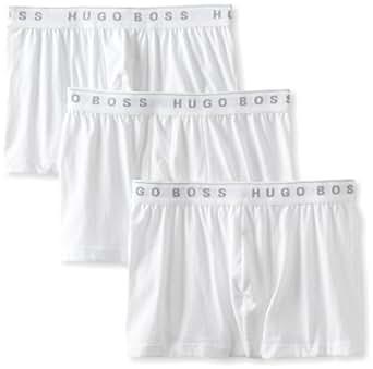 BOSS HUGO BOSS Men's 3-Pack Cotton Trunk, White, Small