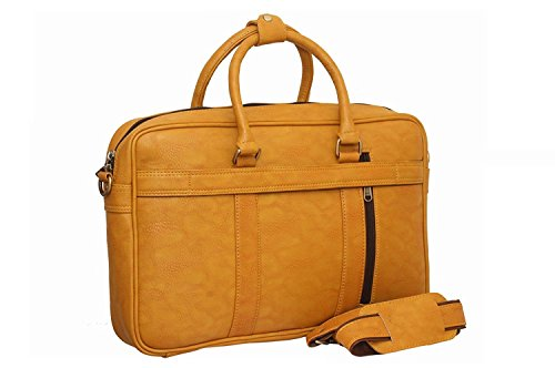 ATTACHE Synthetic Sleek Faux Leather 15.6 Inch Laptop,Messenger,Tablet and Executive Office Bag  Brown