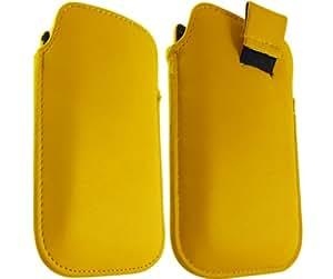 ONX3 HTC S Amarillo Cuero pull Tab Funda protectora Incredible