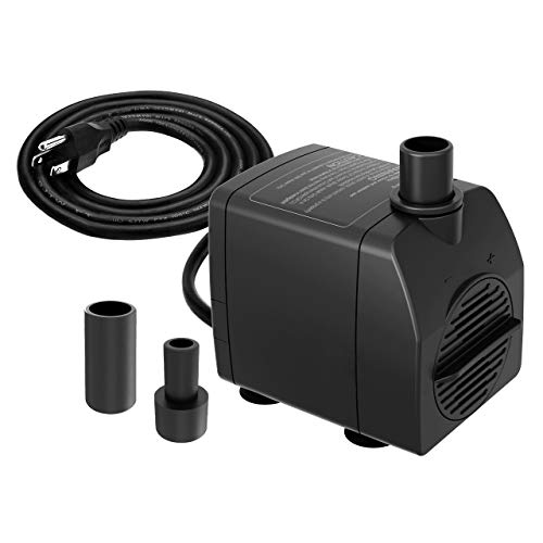 Knifel Submersible Pump 200GPH Ultra Quiet with Dry Burning Protection 5.2ft High Lift for Fountains, Hydroponics, Ponds, Aquariums & More...