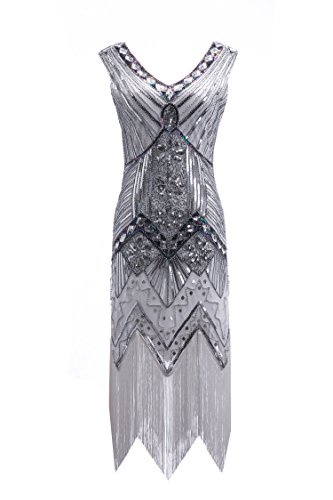 [Womens 1920s Sequin Dress Gatsby Art Deco/ Cocktail / Flapper Party Dresses with Fringed] (Dress 1920s)