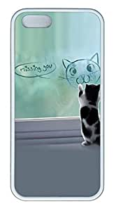 Cat Painting Cover Case Skin for iPhone 5 5S Soft TPU White
