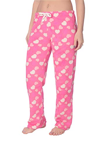 Lounge Set Heart (Active Club Women's Warm Printed Cozy Plush Lounge Pajama Pants (X-Large, Pink Love Heart))