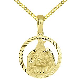 """14k Yellow Gold Textured Open Round Holy Spirit Baptism Christening Pendant with Cuban Necklace, 16"""""""