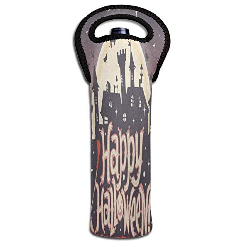 Wine Bag Happy Halloween Moon Bat 1 Beer Bottle Red Wine Tote Bag Insulated Padded Single Champagne Gift Carrier Holder -