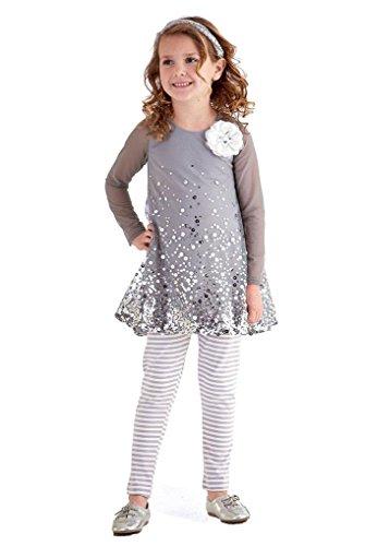 Peaches n Cream Little Girls' Silver Sequins Mesh Top Leggings 2-pc Outfit, 5