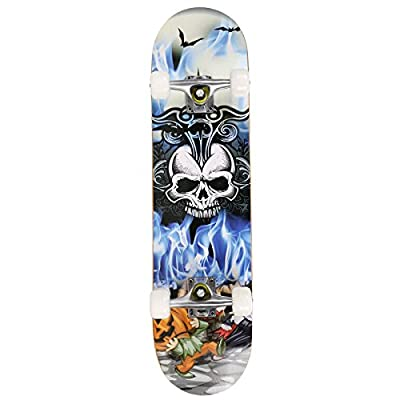KELAND 31'' PU Wheels Complete Skateboard, Pro Print Wood Deck Skate Board with 9 Layer Canadian Maple Wood (US Stock) : Sports & Outdoors