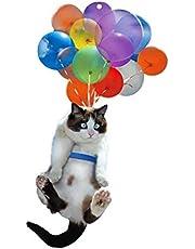 Katt bil hänge, ornament med färgglad ballong, kreativ bil hänge interiör bil hängande prydnad dekoration, söt katt, bilhållare, backspegel hänge