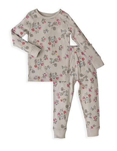 Pig Floral (Girl's Long Sleeves Floral Organic Cotton Pajama Sets - 100% Soft Organic Cotton Shirt Pants - Sizes 6)
