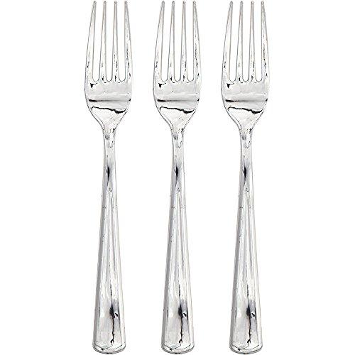 Creative Converting 315133 24 Count Metallic Plastic Forks, Silver (Forks Metallic Plastic Silver)