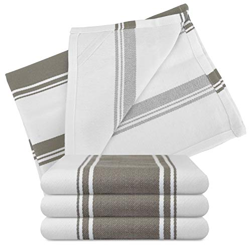 Kitchen Dishes Towels - Set of 4 Cotton Tea Towels 20 x 28 inch - Best Dish Cloths for Hand Towel or Embroidery in Vibrant Colors - Greige
