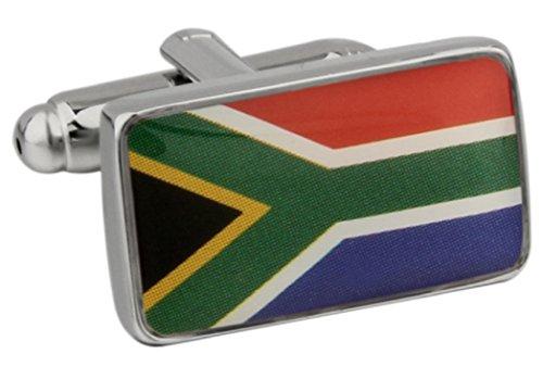 MRCUFF Republic of South Africa Flag Pair Cufflinks in a Presentation Gift Box & Polishing Cloth by MRCUFF