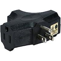 QVS PA-3P-4PK Black 3-Outlet 3-Prong AC Plug, 4-Pack