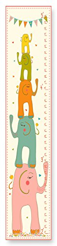 The Kids Room by Stupell Elephants Stack and Colorful Banner Growth (Play Canvas Growth Chart)