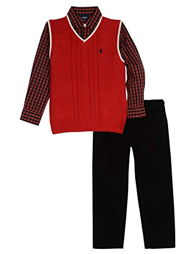 Izod boys 3-Piece Sweater Vest, Dress Shirt, and Pants Set, Red, 4T (Sweater Shirt Vest 3 Piece)
