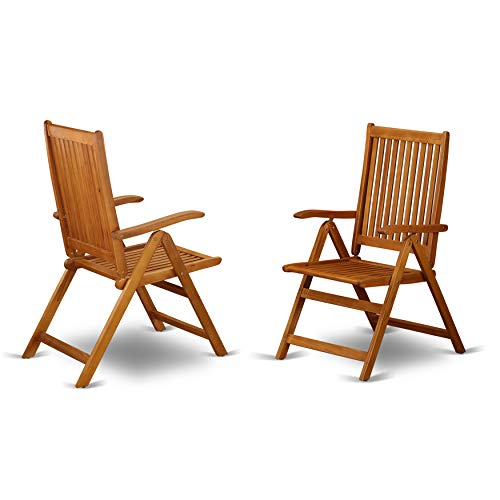 5 Position Outdoor folding arm Chair made from Solid Acacia Wood -Set of two