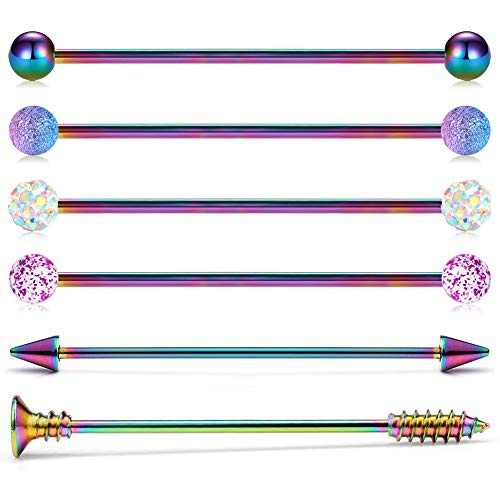 Briana Williams 14G 6pcs 38mm Stainless Steel Industrial Barbell Earring Cartilage Helix-Conch Body Piercing Jewelry 1 1/2 Inch Rainbow Bar