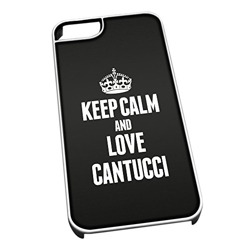 Bianco cover per iPhone 5/5S 0900 nero Keep Calm and Love Cantucci