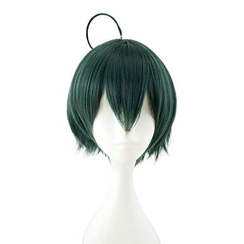 HSIU Shuichi Saihara Anime Blackish green Cosplay Wig Danganronpa V3: Killing Harmony Halloween Play Costumes Hair Wigs (Blackish green) -